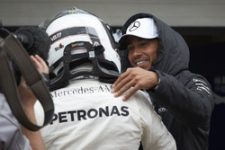 Lewis Hamilton, Mercedes AMG F1, congratulates team mate Valtteri Bottas, Mercedes AMG F1, on securing pole