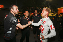 Kevin Magnussen, Haas F1 Team, celebrates a good result after the race with team mates
