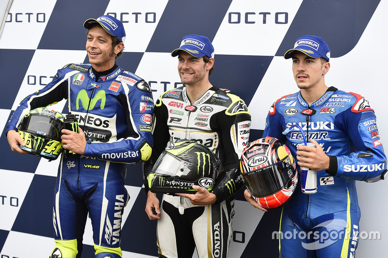 Poleman Cal Crutchlow, Team LCR Honda, secondo qualificato Valentino Rossi, Yamaha Factory Racing, terzo qualificato Maverick Viñales, Team Suzuki MotoGP