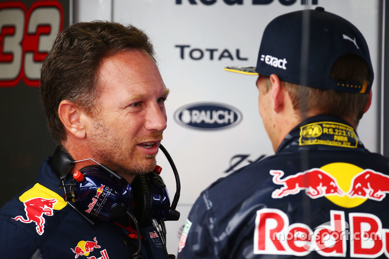 (L to R): Christian Horner, Red Bull Racing Team Principal with Max Verstappen, Red Bull Racing