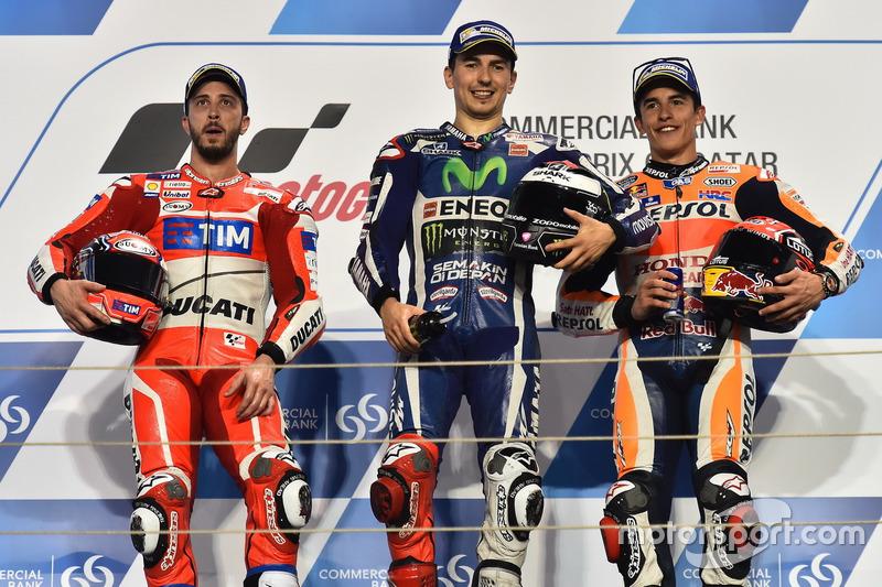 1. Jorge Lorenzo, 2. Andrea Dovizioso, 3. Marc Marquez