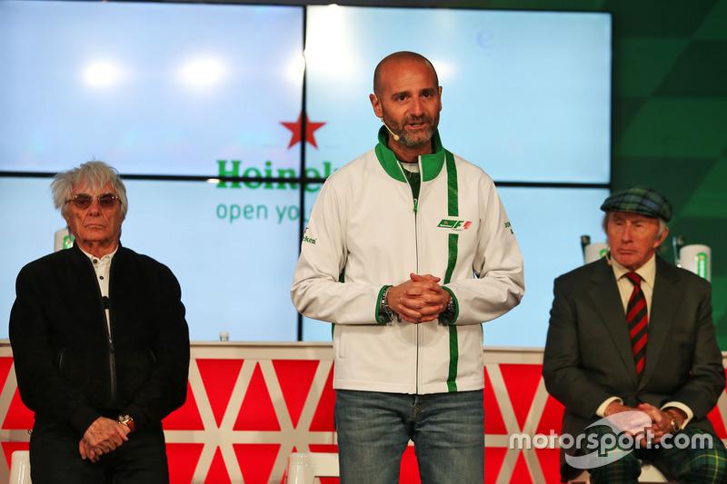 (L to R): Bernie Ecclestone, Heineken Global Head of Brand; and Jackie Stewart, at a Heineken sponso