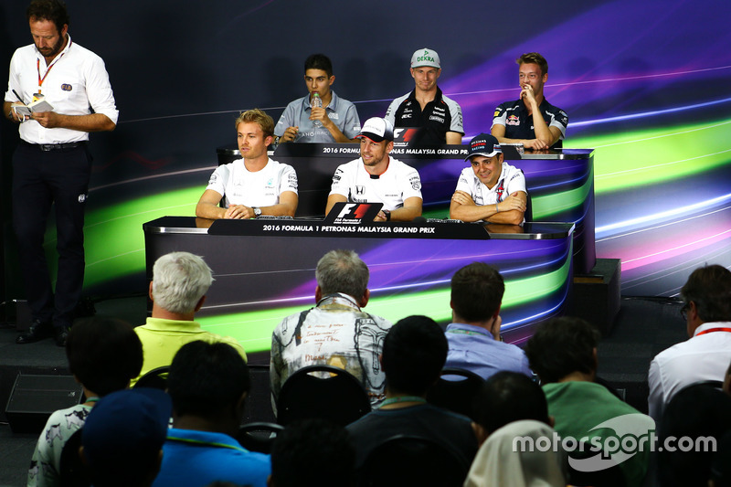 The FIA Press Conference: Esteban Ocon, Manor Racing; Nico Hulkenberg, Sahara Force India F1; Daniil Kvyat, Scuderia Toro Rosso; Nico Rosberg, Mercedes AMG F1; Jenson Button, McLaren; Felipe Massa, Williams