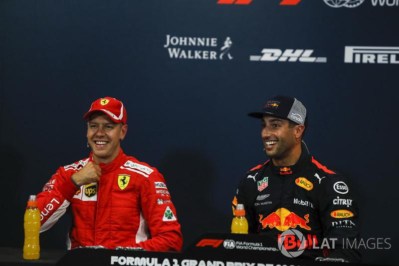 Sebastian Vettel, Ferrari et Daniel Ricciardo, Red Bull Racing lors de la conférence de presse