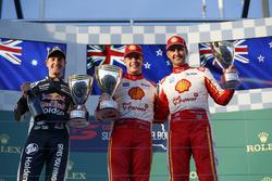 Podium: Race winner Scott McLaughlin, DJR Team Penske Ford, second place Jamie Whincup, Triple Eight Race Engineering Holden, third place Fabian Coulthard, DJR Team Penske Ford
