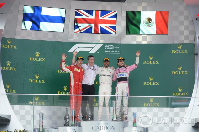 Kimi Raikkonen, Ferrari, Lewis Hamilton, Mercedes-AMG F1 y Sergio Perez, Force India