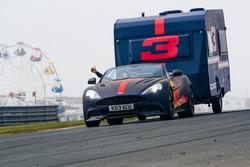 Max Verstappen with a caravan