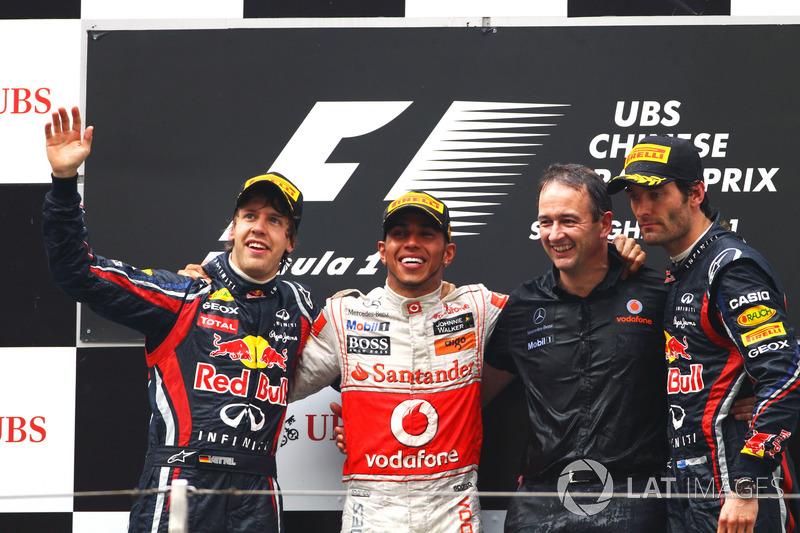 2011: 1. Lewis Hamilton, 2. Sebastian Vettel, 3. Mark Webber