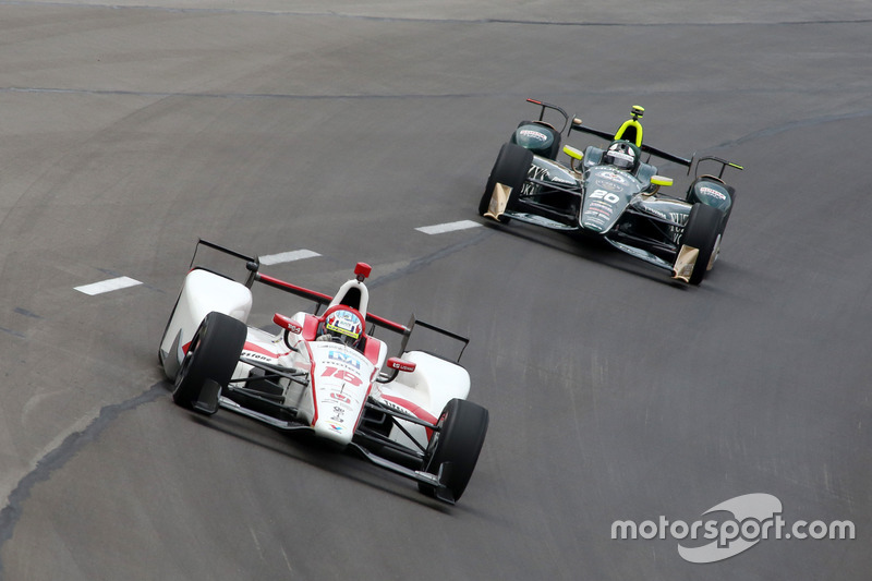 Тристан Вотье, Dale Coyne Racing Honda, и Эд Карпентер, Ed Carpenter Racing Chevrolet
