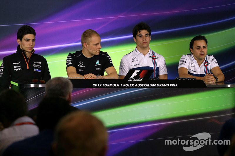 Esteban Ocon, Sahara Force India F1 Team; Valtteri Bottas, Mercedes AMG F1; Lance Stroll, Williams;