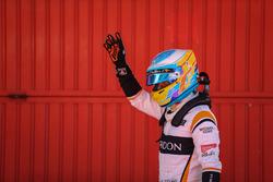 Fernando Alonso, McLaren fête sa septième place dans le parc fermé