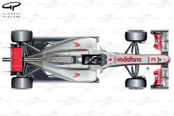 McLaren MP4-27 top view, yellow arrows depict the trajectory of the exhaust plume from the 'Semi-Coanda' exhaust solution