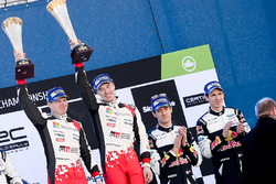 Podium: winners Jari-Matti Latvala, Miikka Anttila, Toyota Racing, third place Sébastien Ogier, Julien Ingrassia, M-Sport