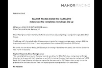 Press release pengumuman Rio Haryanto dari Manor Racing
