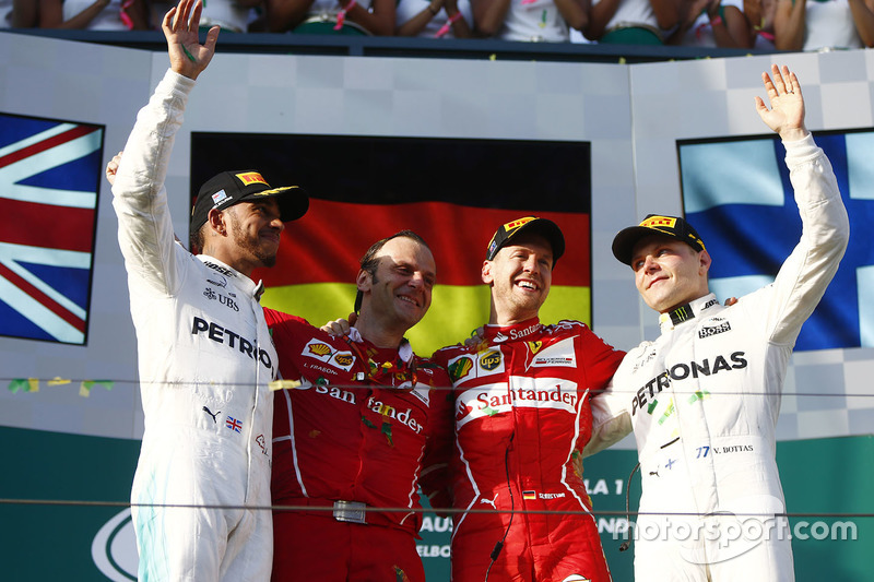 Podium: winner Sebastian Vettel, Ferrari, second place Lewis Hamilton, Mercedes AMG F1, third place Valtteri Bottas, Mercedes AMG F1, Luigi Fraboni, Head of Engine Trackside Operations, Ferrari