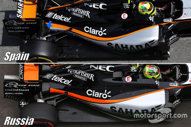 Sahara Force India F1 VJM09 suspension detail comparison
