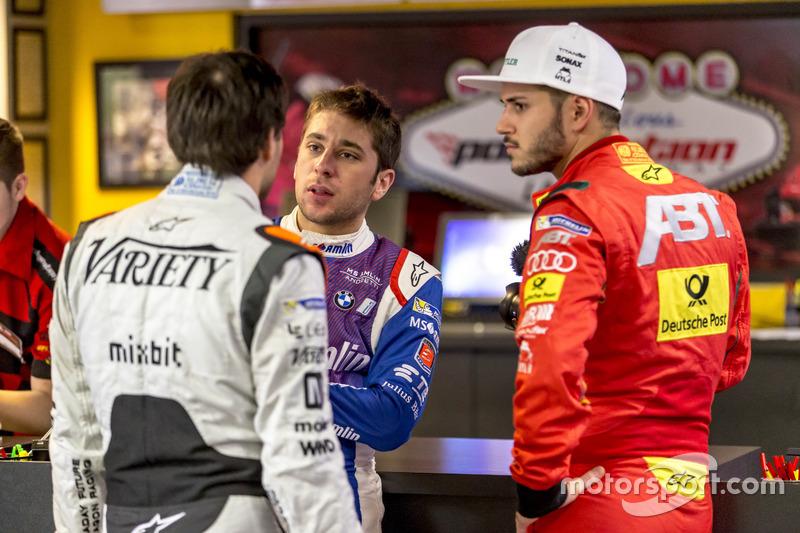 Jérôme d'Ambrosio, Dragon Racing; Robin Frijns, Amlin Andretti Formula E Team y Daniel Abt, ABT Schaeffler Audi Sport