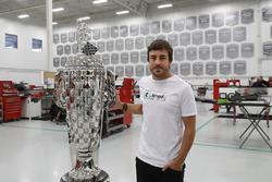 Fernando Alonso with the BorgWarner Trophy