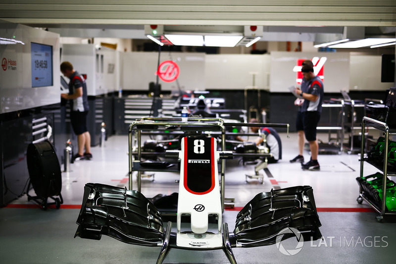 The car of Romain Grosjean, Haas F1 Team VF-17, being prepared in the garage