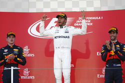Podium: race winner Lewis Hamilton, Mercedes AMG F1, second place Max Verstappen, Red Bull Racing, third place Daniel Ricciardo, Red Bull Racing
