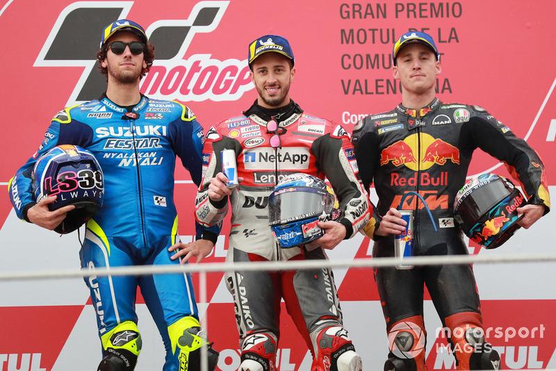 Podio: 1º Andrea Dovizioso, 2º Alex Rins, 3º, Pol Espargaro
