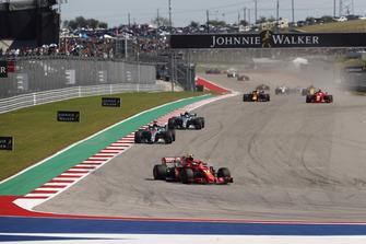 Kimi Raikkonen, Ferrari SF71H, Lewis Hamilton, Mercedes AMG F1 W09 EQ Power+, Valtteri Bottas, Mercedes AMG F1 W09 EQ Power+, Daniel Ricciardo, Red Bull Racing RB14, Sebastian Vettel, Ferrari SF71H