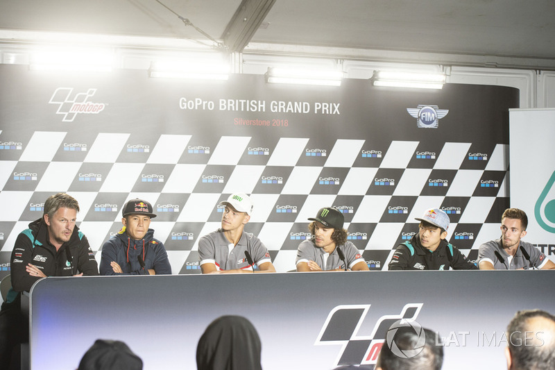 Fabio Quartararo, Franco Morbidelli, and other team members of Petronas Yamaha Sepang Racing