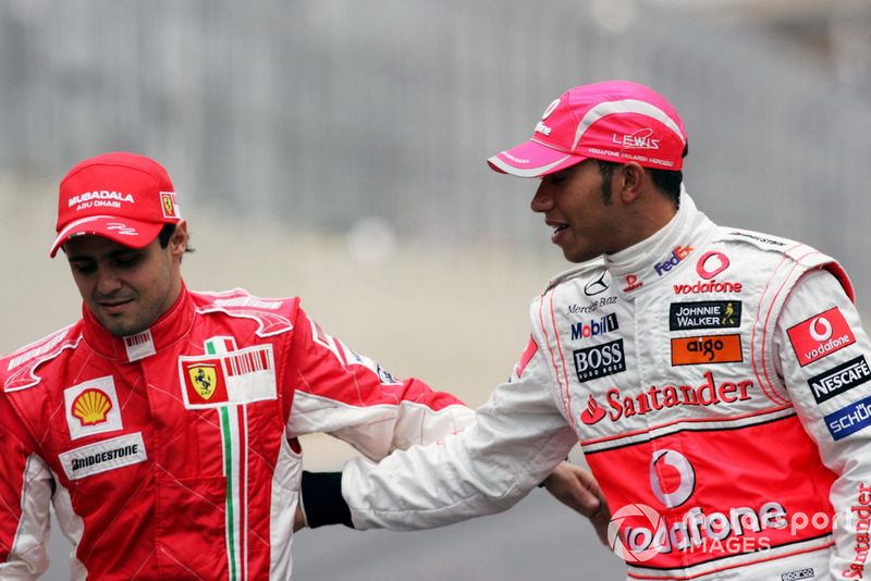 Felipe Massa and Lewis Hamilton before the start of Brazil 2008, one of F1's most dramatic title showdowns ever