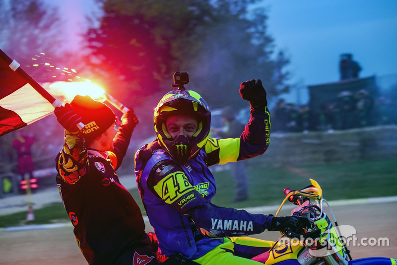 Valentino Rossi and Franco Morbidelli celebrating their victory
