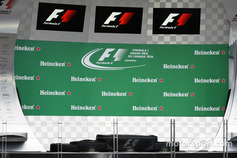 Heineken branding on the podium