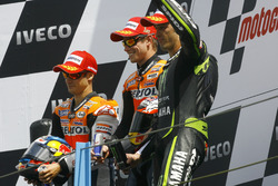 Podium: second place Dani Pedrosa; Winner Casey Stoner, Honda; third place Andrea Dovizioso, Yamaha