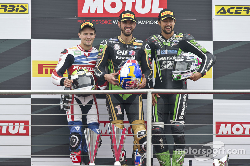 Podium :  Sieger Kenan Sofuoglu, Kawasaki Puccetti Racing, 2. PJ Jacobsen, Honda World Supersport Team, 3. Randy Krummenacher, Kawasaki Puccetti Racing