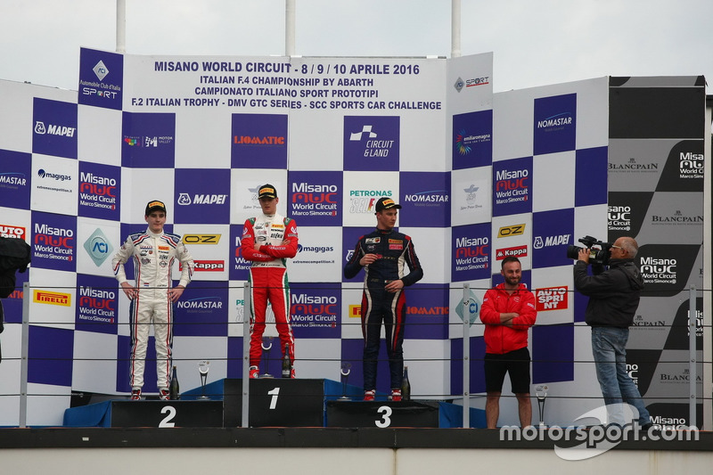 Podium race 2: Mick Schumacher, Prema Powerteam, Job Van Uitert, Jenzer Motorsport, Diego Bertonelli, RB Racing