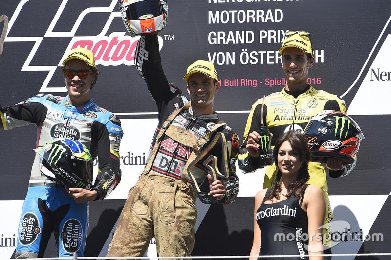 Podio: il secondo classificato Franco Morbidelli, Marc VDS, il vincitore della gara Johann Zarco, Ajo Motorsport, il terzo classificato Alex Rins, Paginas Amarillas HP 40