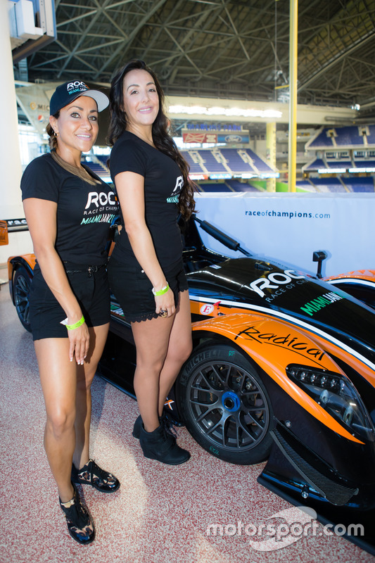 Lovely Race of Champions girls with the Radical car that will participate in the 2017 Race of Champions in Miami at the Marlins Park