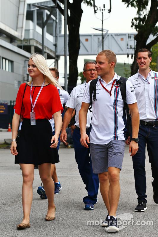 Valtteri Bottas, Williams with his wife Emilia Bottas