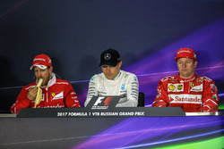 Sebastian Vettel, Ferrari, Valtteri Bottas, Mercedes AMG F1, Kimi Raikkonen, Ferrari in the Press Conference