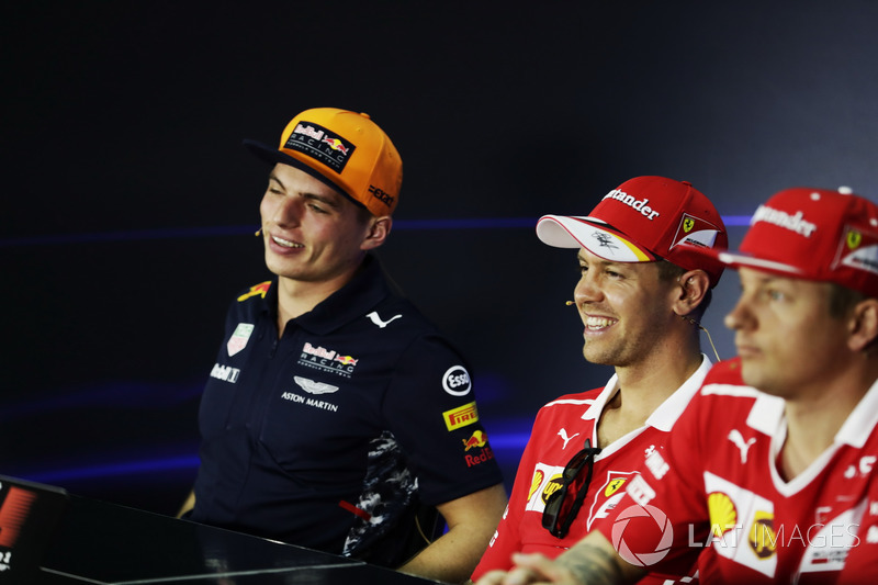 The FIA press conference, Max Verstappen, Red Bull Racing, Sebastian Vettel, Ferrari and Kimi Raikkonen, Ferrari