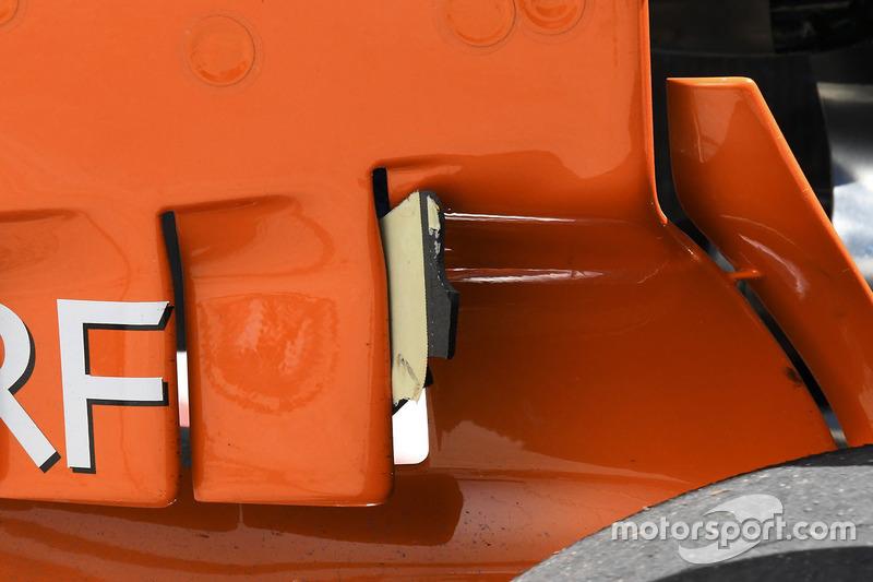 Debris stuck in the McLaren MCL32 rear wing
