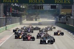 Lewis Hamilton, Mercedes AMG F1 W08, Valtteri Bottas, Mercedes AMG F1 W08, Sebastian Vettel, Ferrari SF70H, Kimi Raikkonen, Ferrari SF70H, Max Verstappen, Red Bull Racing RB13