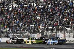 Christopher Bell, Kyle Busch Motorsports Toyota, Matt Crafton, ThorSport Racing Toyota and Austin Cindric, Brad Keselowski Racing Ford
