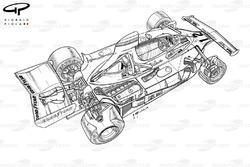 Подробная схема Ferrari 312T 1976 года: вид сзади