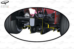 Reference for 2009, size of 2008 rear diffuser (outline highlighted in yellow)