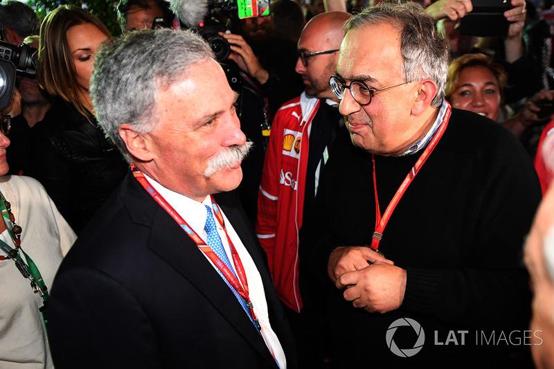 Chase Carey, président Formula One Group et Sergio Marchionne, PDG FIAT au 70e anniversaire de Ferrari