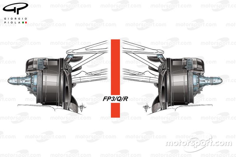 Conductos de frenos delanteros del Mercedes W08 el sábado y el domingo del GP de Azerbaiyán