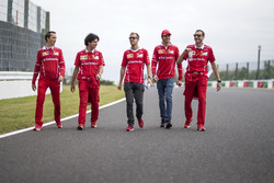 Sebastian Vettel, Ferrari, Antonio Giovinazzi, Ferrari and Riccardo Adami, Ferrari Race Engineer walk the track