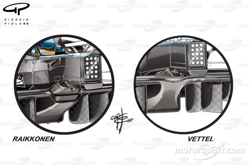 Ferrari SF70H, diffusori a confronto