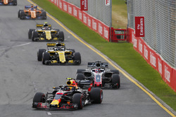 Max Verstappen, Red Bull Racing RB14 Tag Heuer, leads Romain Grosjean, Haas F1 Team VF-18 Ferrari