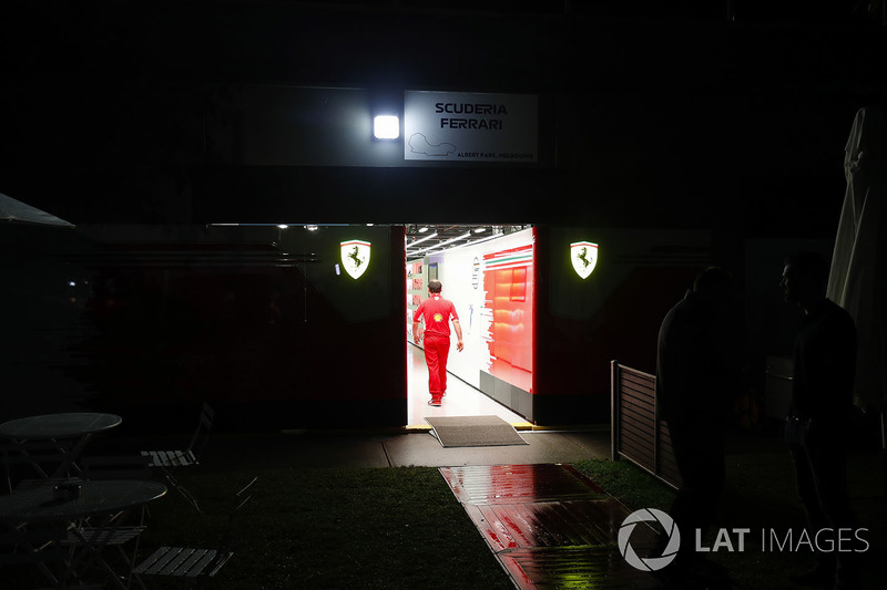 Night falls on the Ferrari garage