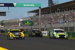 Mark Winterbottom, Tickford Racing Ford, leads Lee Holdsworth, Charlie Schwerkolt Racing Holden, Cameron Waters, Tickford Racing Ford